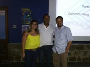 Bióloga Mariana Burato da BW, Prof Dr Marcus Rodrigues e Prof Dr Max Werneck da BW