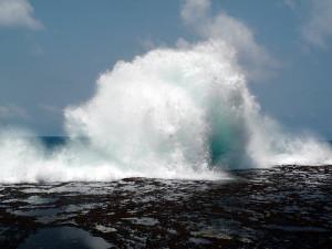 Onda explodindo no platô recifal durante maré baixa