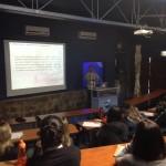 Oceanógrafo Carlos Eduardo Consulim na palestra sobre recursos pesqueiros