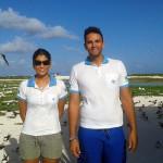 Os biólogos Katia e Pedro