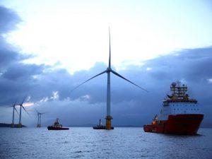 Tamanho das turbinas em relação aos navios